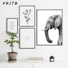 Affiche en toile avec fleur d'éléphant, peinture murale scandinave noire et blanche