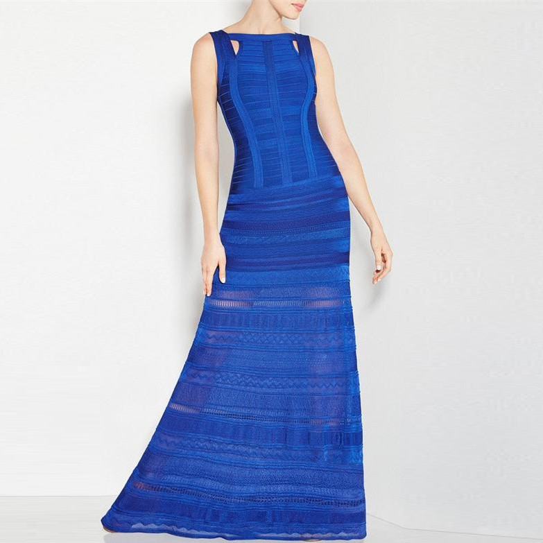 Top Quality HL Blue Pink Sleeveless Hollow Out Noble Rayon Thick Long Bandage Dress Cocktail Party