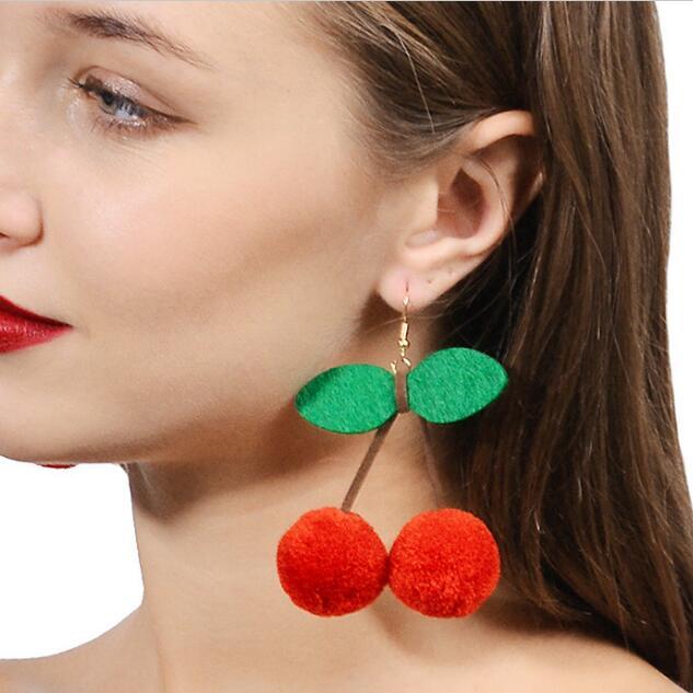 cherry pom pom earrings fashion jewelry boucle d 39 oreille pompon drop dangle statement earrings