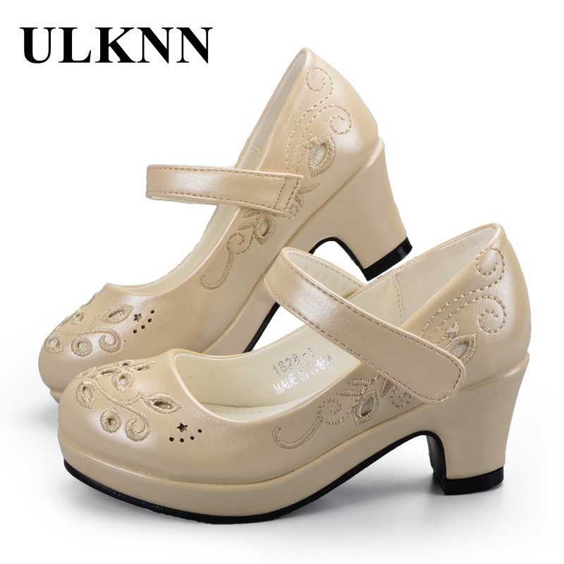 ULKNN Children shoes Sandals for Girls Flower While Embroidery Shoes High Heel Girls Princess Sandals Baby Kids Party Shoes ulknn glitter children girls high heel shoes for kids princess sandals bowtie knot infant baby girls shoes for party and wedding