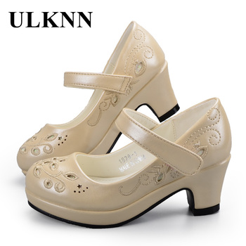 ULKNN Children shoes Sandals for Girls Flower While Embroidery Shoes  High Heel Princess Baby Kids Party