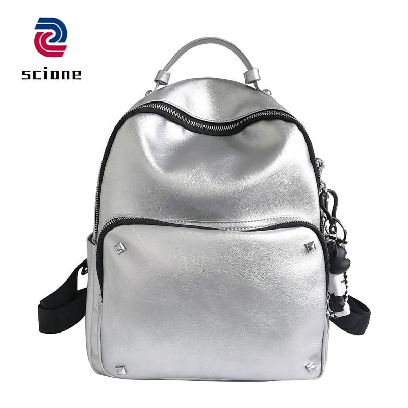 Sliver Color Soft Leather Backpack Fashion Style Rucksack