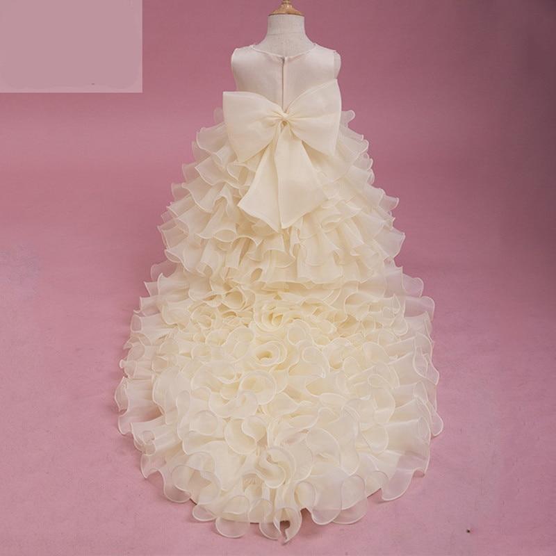 2-14T flower girl Trailing wedding dresses Girls clothing Summer Tutu Mermaid dress V-neck big bow Princess long Party dresses