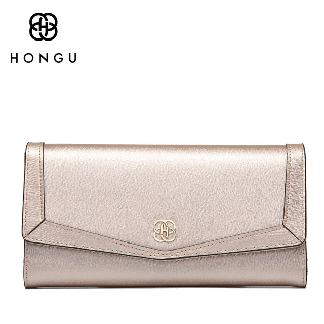 HONGU luxury Long Women Wallets Coin Pocket Multi-function Handbags Bifold Hasp Natural Leather Female Dollar Bags Girl's Purses