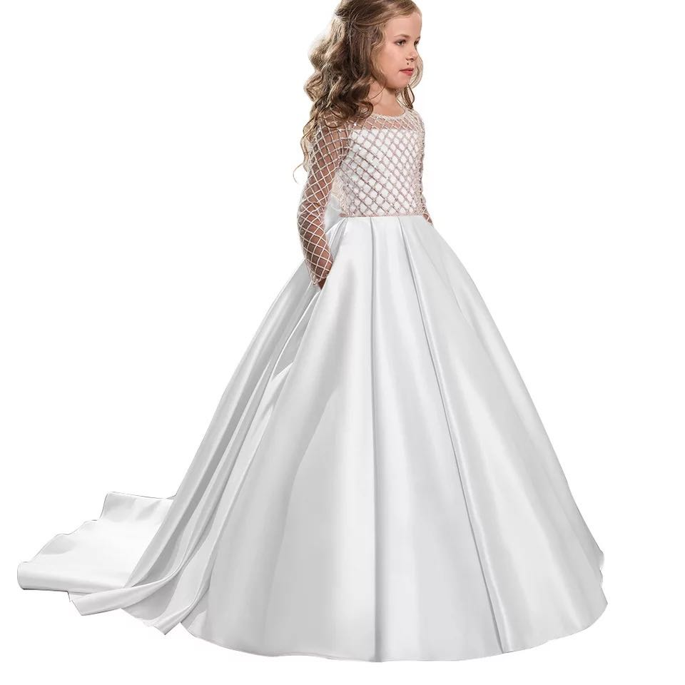 Flower Girl Wedding Party Little Bridesmaid Tail Banquet Dress Girl School Graduation Party Dance Performance Dress