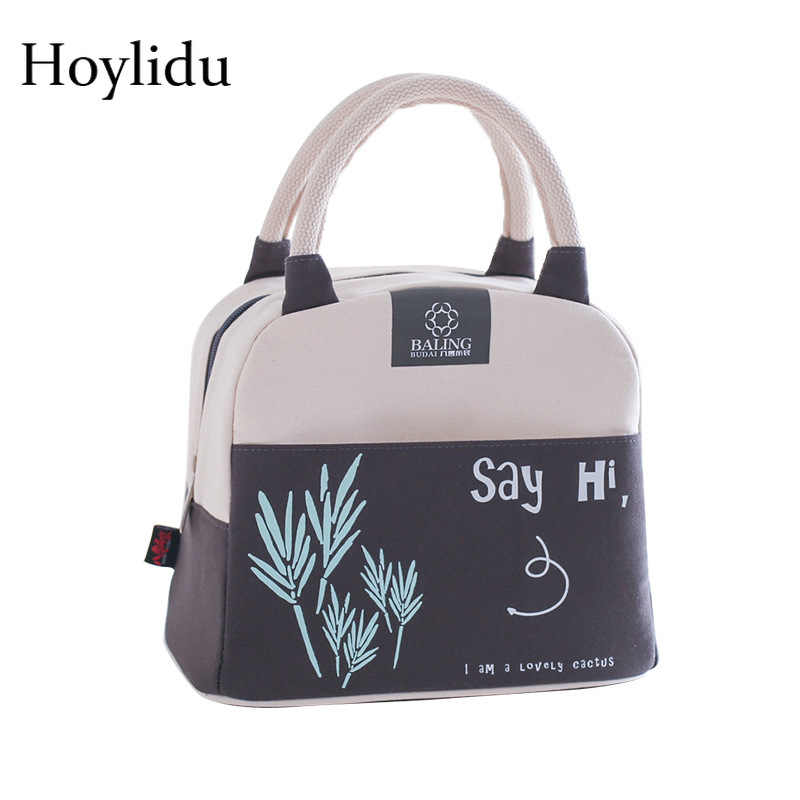 510b35665602 Portable Insulated Lunch Bags for Women Kids Food Bag Cute Cactus Printed  Canvas Fresh Thermal Insulation Picnic Tote Cooler Bag