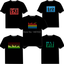 10pcs High Quality Sound Activated Light Up Flashing Equalizer EL LED T-Shirt Cotton short Tshirt for Rock Disco Party DJ