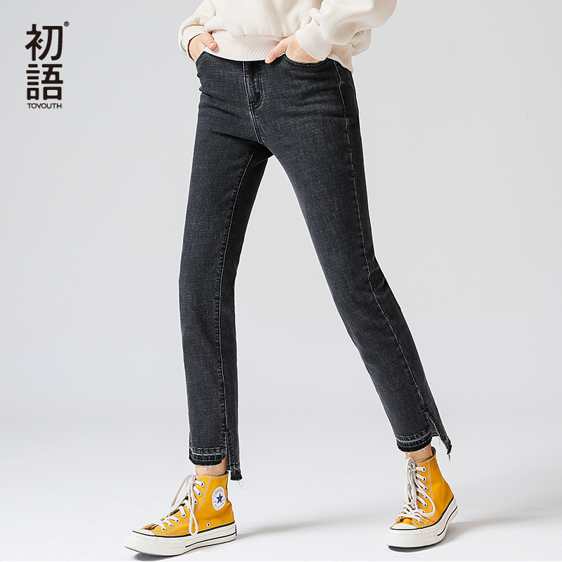 Toyouth Vintage Jeans Woman Black Jeans 2019 Spring Slim Irregular Straight Denim Pants Female Split Long