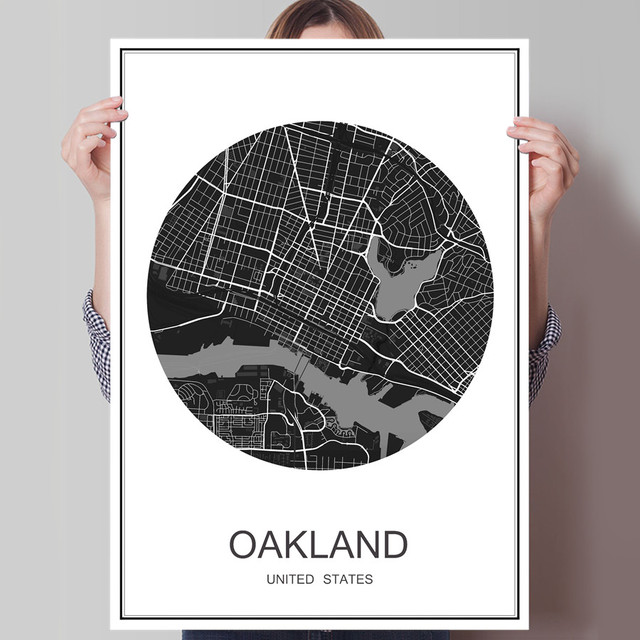 Oakland modern world city map oil painting poster canvas coated paper abstract print picture cafe decor