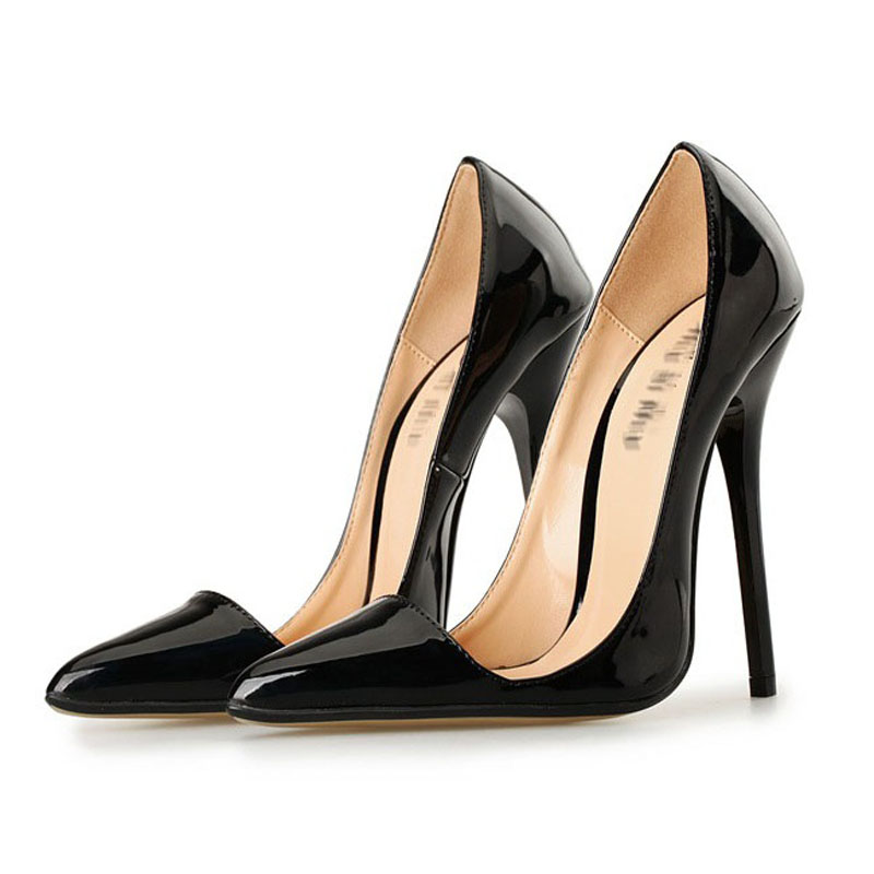 ФОТО 2017 Size 34-49 Black High Quality Patent Leather Sexy Pointed Toe High Heels Women Pumps Ladies Shoes Woman Chaussure Femme