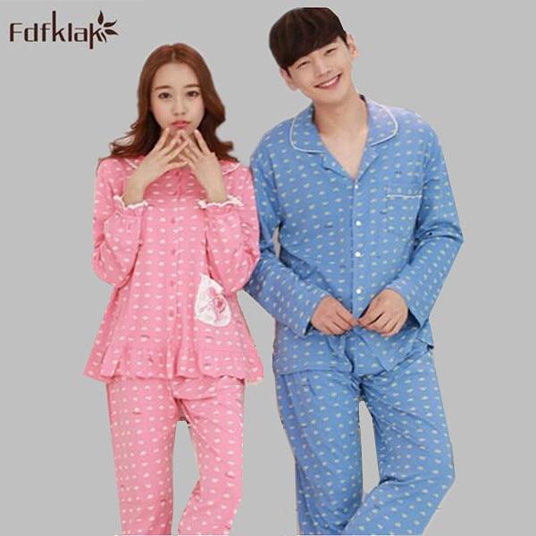Korean style women pajamas set long sleeve adult pajamas autumn winter  pijamas mujer cotton couples sleepwear pyjamas XXL Q490 e7a33877f