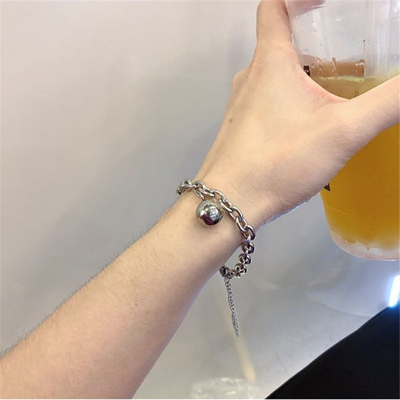 Punk retro titanium steel ball ball pendant bracelet 2019 simple personality thick chain bracelet jewelry For Women in Chain Link Bracelets from Jewelry Accessories