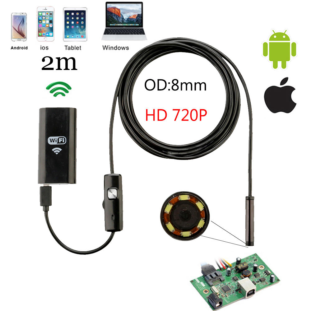 Wifi HD 8MM 1280* 720P 1/2/5m Cable Waterproof Endoscope Inspection Camera Android IOS Mini Camera Car Inspection Endoscopic