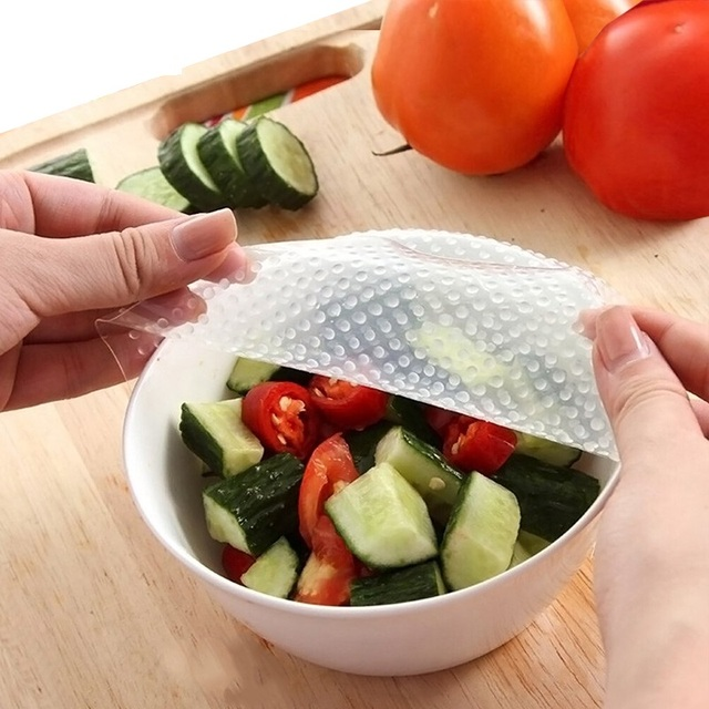 4pcs/Set  Multifunctional Food Fresh Keeping Saran Wrap Silicone Food Wraps Seal Vacuum Cover Lid Stretch Reusable Kitchen Tool 2