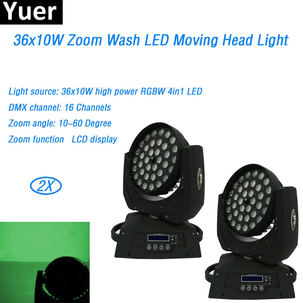 2Pcs/Lot 36x10W Wash Moving Head with Zoom LED RGBW 4in1 DMX 512 LCD display Party Show Nightclub Wedding DJ Disco equipment 2Pcs/Lot 36x10W Wash Moving Head with Zoom LED RGBW 4in1 DMX 512 LCD display Party Show Nightclub Wedding DJ Disco equipment