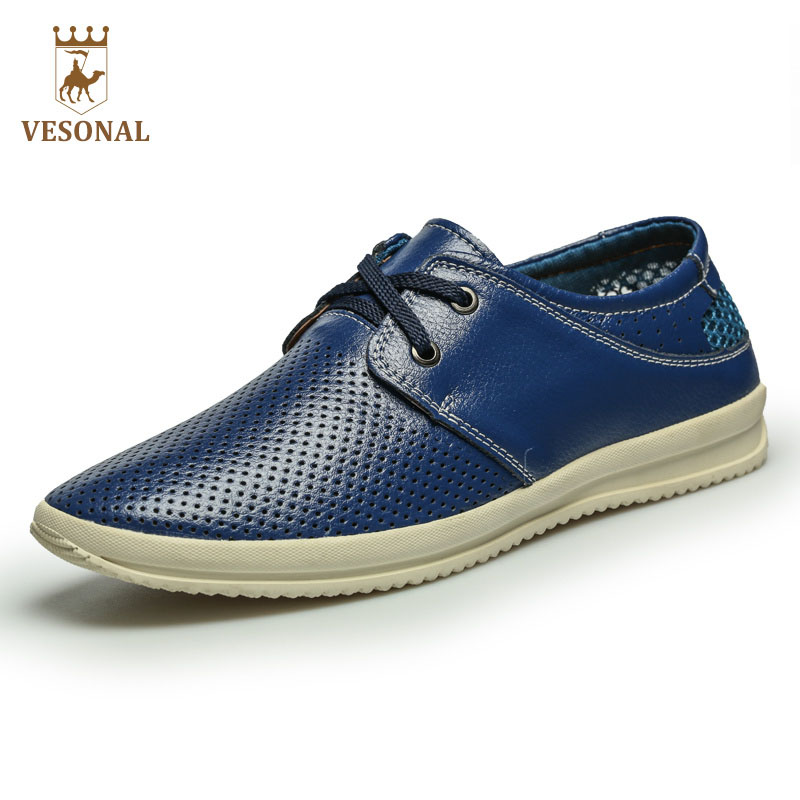 VESONAL Brand Casual Male Shoes For Men Breathable 2017 Spring Autumn Man Mesh Footwear Comfortable Genuine Leather Shoes Man new 2016 medium b m massage top fashion brand man footwear men s shoes for men daily casual spring man s free shipping