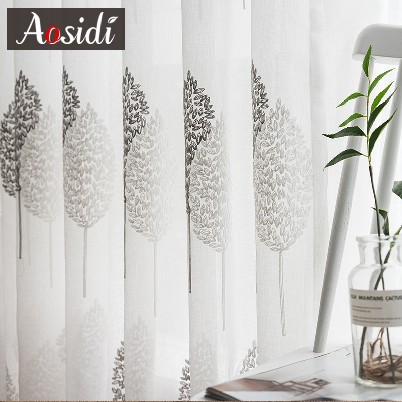 Modern Tree Tulle Curtains For Living Room Bedroom White Embroidered Sheer Curtains For Kitchen Tulle For Window Voile Curtains