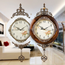Classical Wooden Wall Clocks European Antique Pendulum Decor Clock of Silent Quartz Movement Art Edge