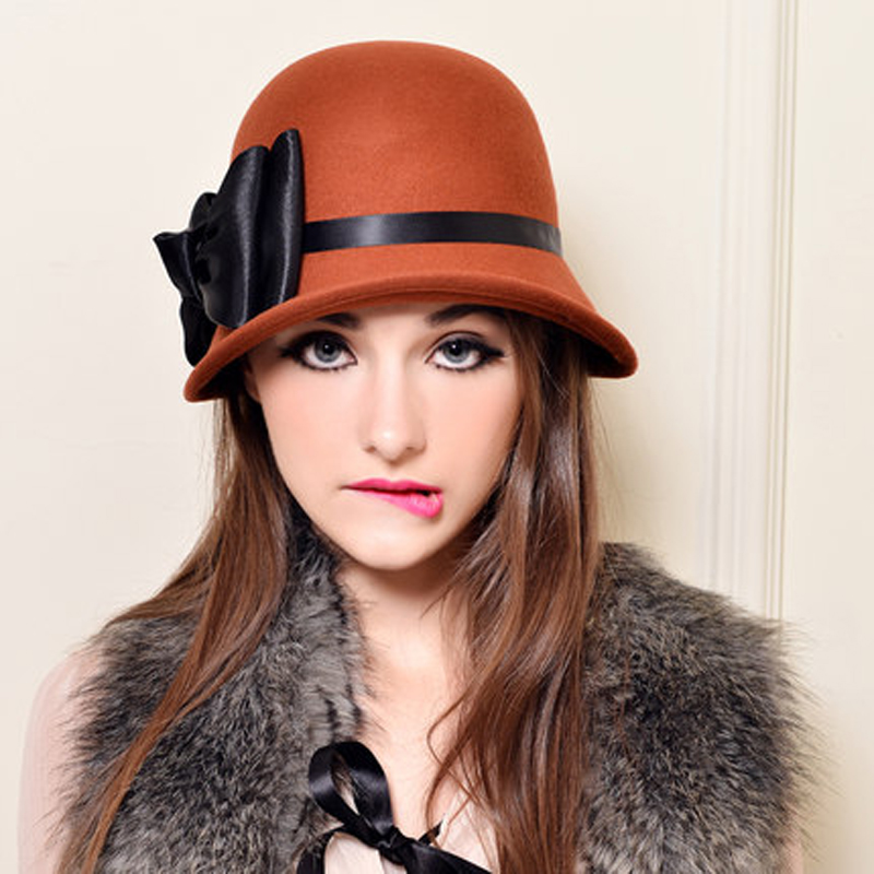 Winter 100% Australia Wool Fedora Hat For 2017 New Fashion Brand Women Bowknot French Trilby Hats