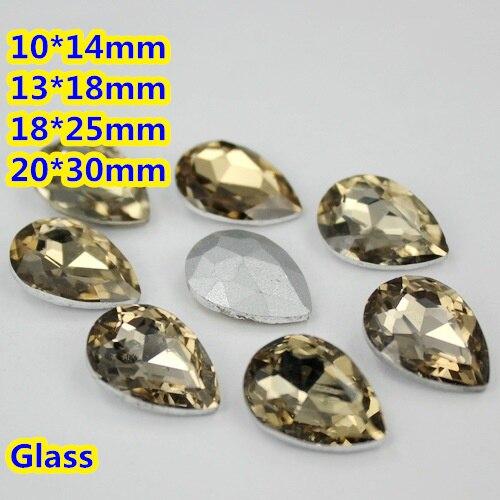 Light Coffe Color Crystal Fancy Stones Teardrop Glass Stones 10*14mm,13*18mm,18*25mm,20*30mm Diy Jewelry/Wedding dress
