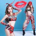 2017 labios Rojos sexy traje ds hiphop dama ropa de baile dj