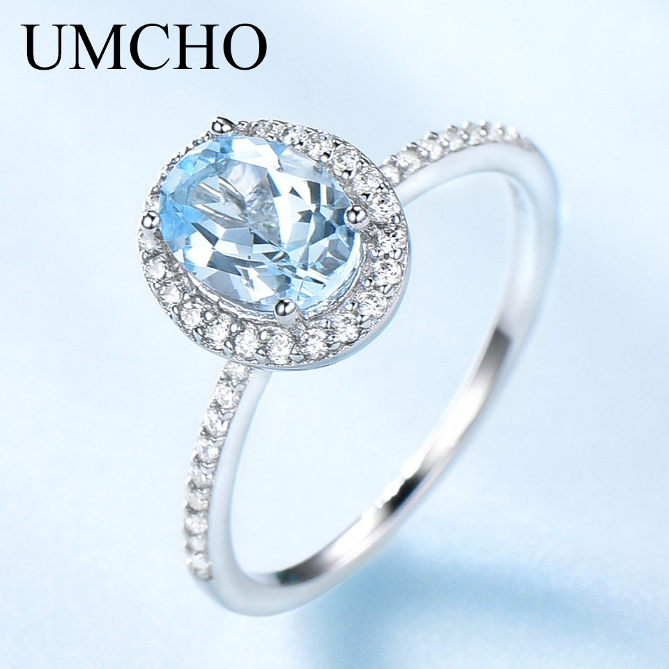 UMCHO Sky Blue Topaz Gemstone Rings for Women Genuine 925 Sterling Silver Ring Oval Romantic Gift Luxury Engagement Jewelry