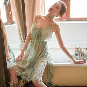 Image 5 - Yhotmeng סקסי פיתוי פיג מה גבירותיי תחרה דק סעיף פיצול ללא משענת העמודים רצועת V צוואר רשת שקוף כותונת סט