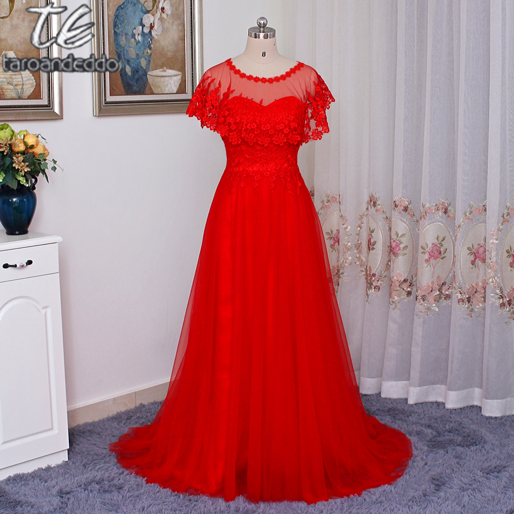 Strapless Lace Applique Red Formal Evening Dress with Wraps A line Prom Dress Party Dress with Train vestido de formatura