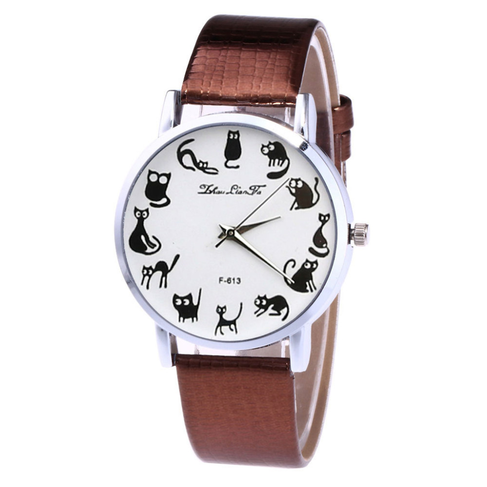 Watch In Women's Watches Men's Leather Strap Korean Ladies Student Lover's Watch Creative Animals Dial Clock Relogio Feminino *A