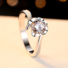 5.5mm Top CZ Stone Hearts and Arrows Cut Brilliant Solitaire Ring Engagement Solid 925 Sterling Silver Clover Gift for Her
