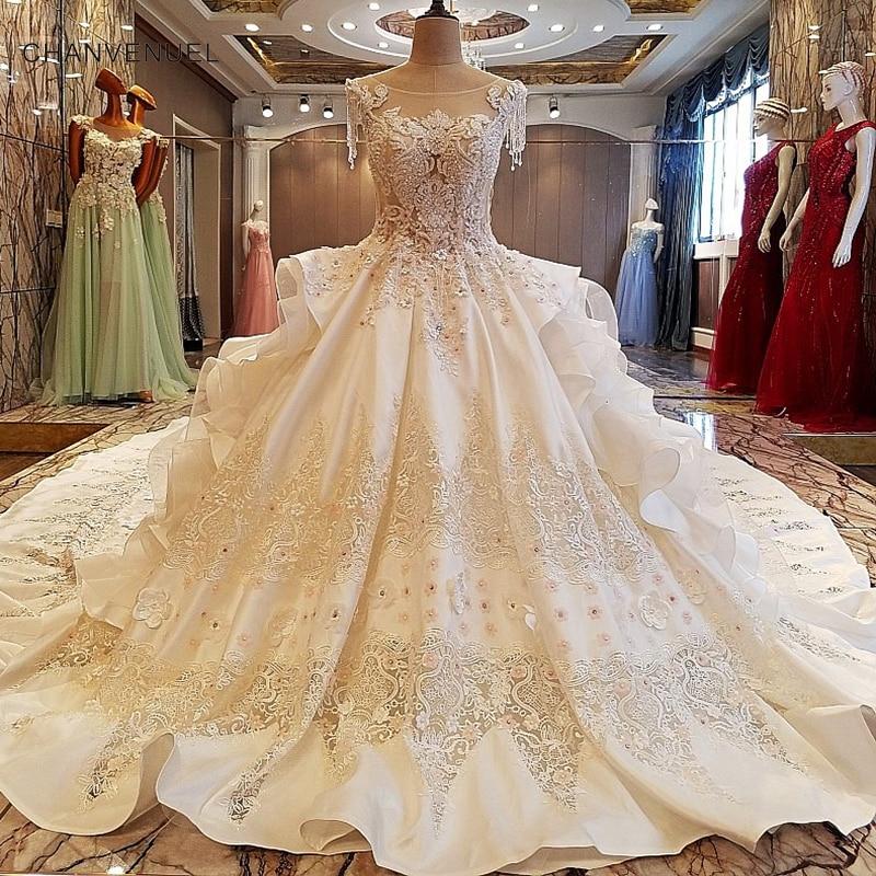 LS00053 de alta calidad de blanco satinado bordado satinado cristales gruesos por encargo lujoso tren largo de encaje aliexpress vestidos de novia