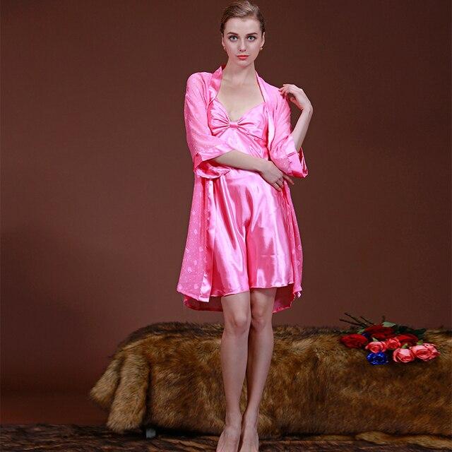 Половина Рукава Robe & Платье Наборы 2016 Лучшие Продажи Летние Женщины Платья Устанавливает Sleepwears Искусственного Шелка Пижамы Бесплатная Доставка Женщин пижамы
