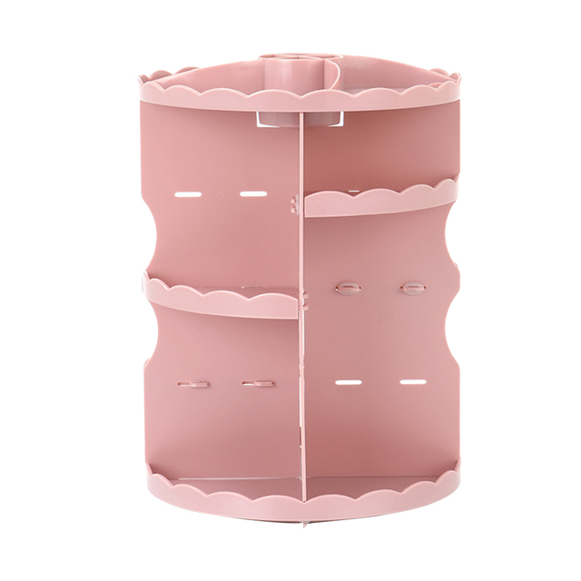 Makeup Organizador 360 Degree Rotating Acrylic Cosmetic Display Spinning Rack Storage Box Lipstick Storage Holder(Pink)