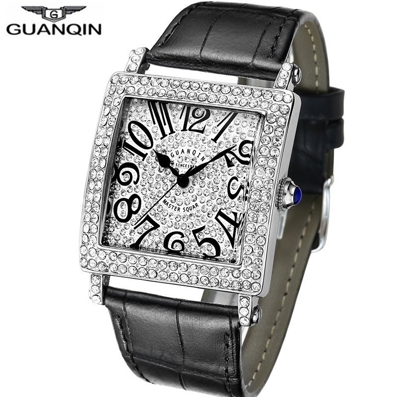 Original GUANQIN 2018 Unisex Dress Watches Top Brand Luxury Fashion Quartz Watch Leather Band Crystal Male
