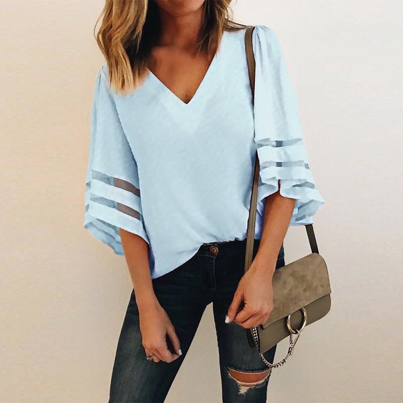 Women 3/4 Flare Sleeve Chiffon Blouse Summer Autumn V Neck Loose Tops Mesh Stitching Tunic Shirt Plus Size 2