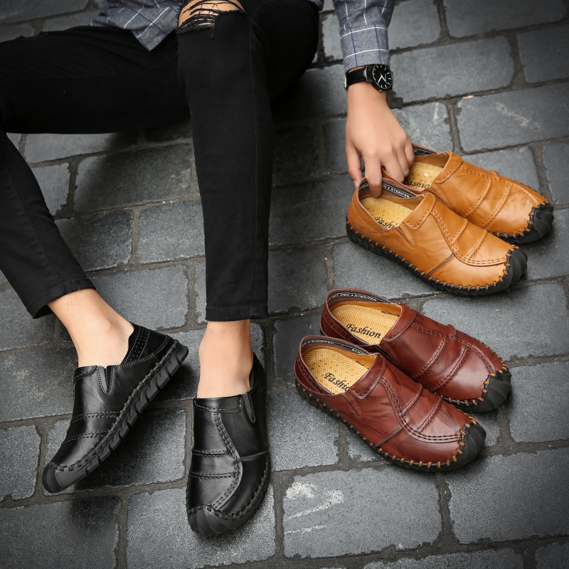 Sapatos Brown Respirável Couro Moda Homem Casuais Mocassins Handmade Homens Slip Black Flats Hombre dark on Marca Hard De Macio Brown Shoes Zapatos wearing yellow 8x4q8Y1