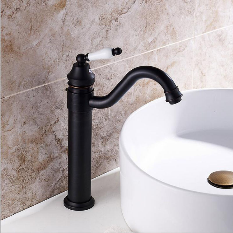 Free Shipping Black bronze faucet basin hot and cold faucet European antique bench basin faucet torneira