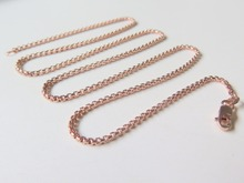 Pure 18K Rose Gold Necklace Special 1.7mm Squared Rolo Link Chain Necklace 17inch Length Hallmark: Au750