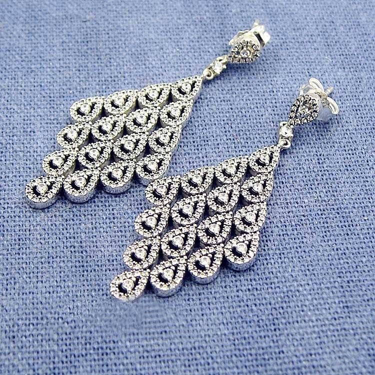 925 Sterling argent boucle d'oreille femmes en cascade Glamour grand avec cristal suspendus boucles d'oreilles pour les femmes cadeau de mariage bijoux à bricoler soi-même