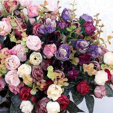 1pc 21 głowice sztuczne sztuczne sztuczne kwiaty mała róża Posy pulpit ślub artykuły gospodarstwa domowego dekoracje jedwabne kwiaty tanie tanio Ślub 21 heads Jedwabiu Kwiat Oddział ZIHANJIAU