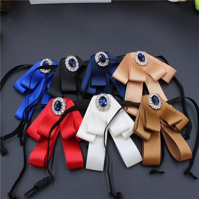 Новые женские Броши Bow Tie Solid Цвет с бантом из ленты; горный хрусталь брошь Булавки Модные украшения рубашка Юбочные костюмы для женщин Интимные аксессуары