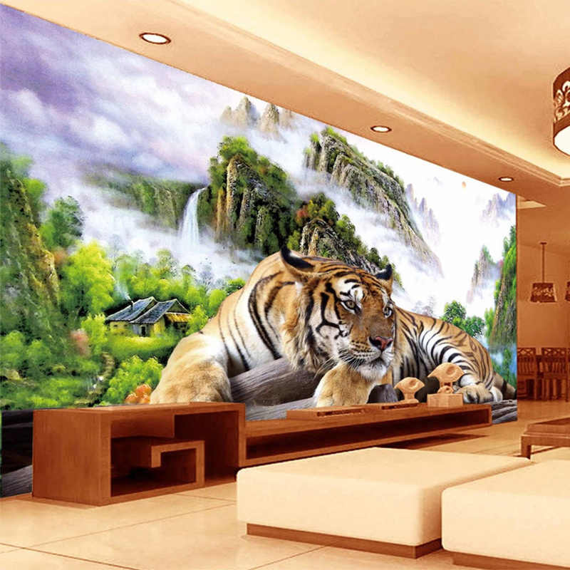 Photo Wallpaper 3D Tiger Nature Landscape Mural Chinese Style Classic Living Room TV Sofa Backdrop Wall Paper For Wall 3 D Decor
