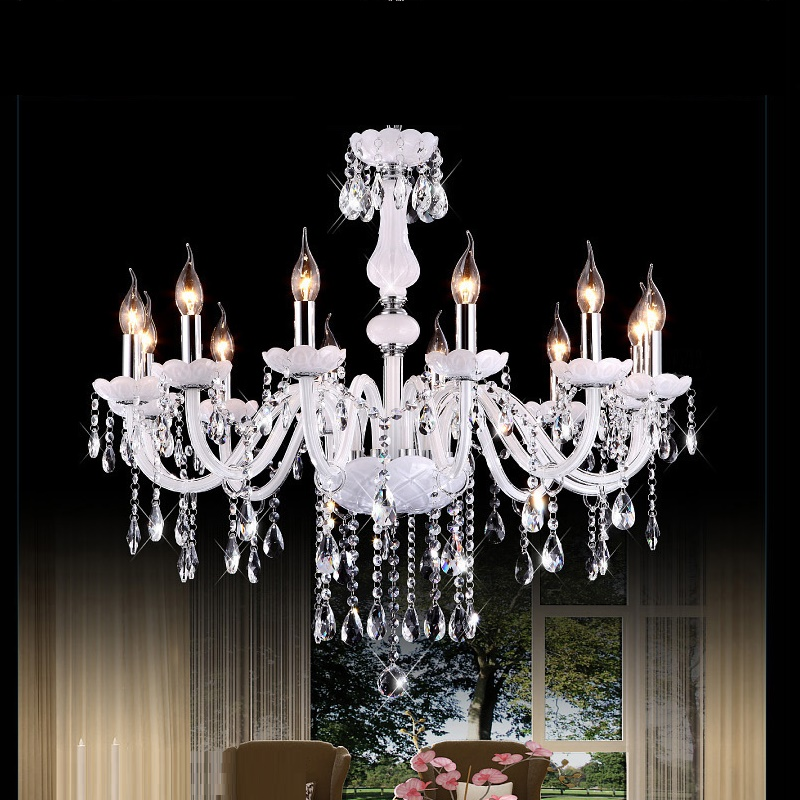 Beautiful White Crystal Chandelier Modern Light Bed Room Lights Candle Lamp Fashion Chandeliers Lighting Lustres De Cristal