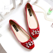 2016 New Arrival Spring Summer Women Flats Shoes Fashion Slip On Casual Shoes Women Loafers Rhinestone Square Toe Ladies Shoes