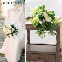 JaneVini Outside White Roses Wedding Bouquet Brooches Artificial Flowers Green Leaf Bridal Handle Bouquets New Bouquet De Fleurs