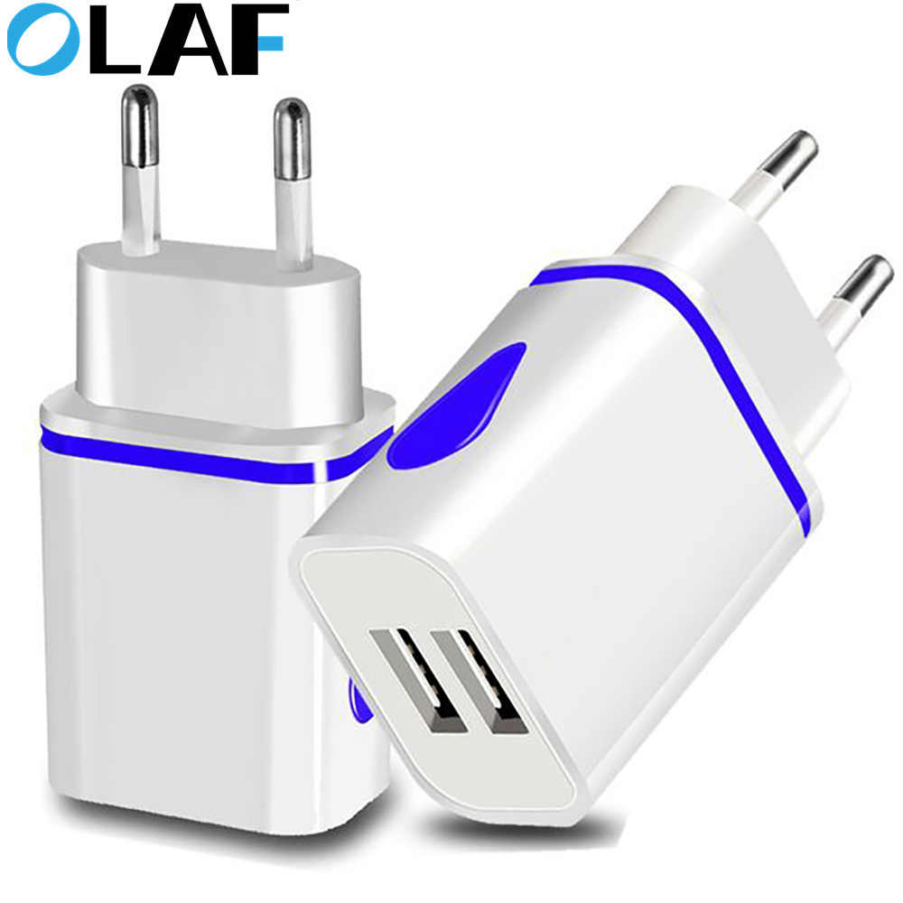 Olaf Dual Portas LED 2A Carregador USB UE Adaptador de Carregamento Do Carregador Do Telefone Móvel Para o iphone xs max Samsung Xiaomi cabo micro usb