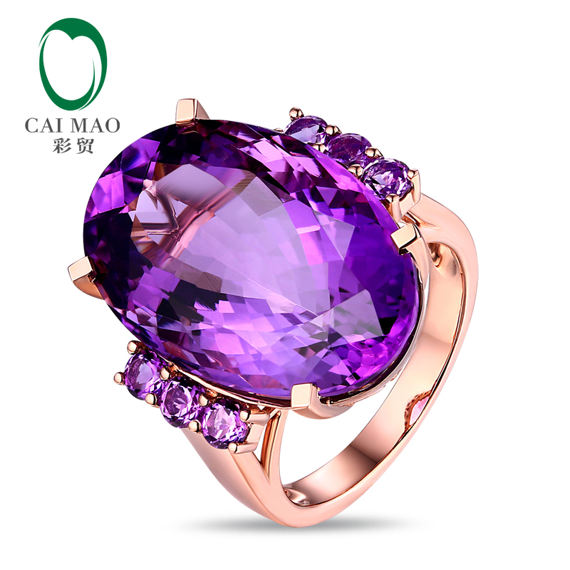Free shipping Unplated 18k Gold 21.30ct Amethyst Engagement Ring Classic Style ...