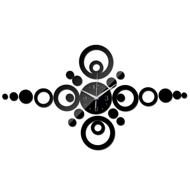 Venda quente 2015 promoção relógio de parede design moderno espelho acrílico arte relógio 3d casa decoração diy relógios de sala de estar freeshipping