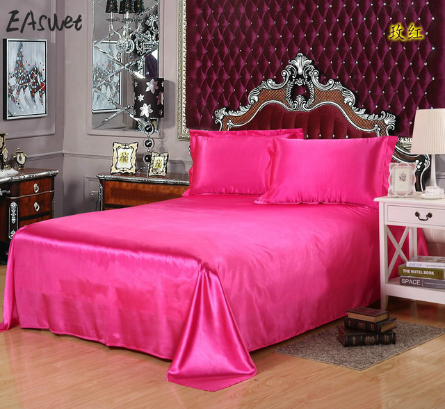 2017 Luxury Silk Bedsheet Bed Sheet Cover Bed Sheets Solid Flat Color  Double Satin Bedding Full