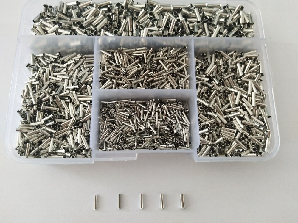 5000pcs Bootlace Ferrule Kit 0.5-2.5mm Non Insulated Terminal Electrical Crimp Cord Wire End  Ferrules FREE SHIPPING pz0 5 16 0 5 16mm2 crimping tool bootlace ferrule crimper and 1k 12 awg en4012 bare bootlace wire ferrules